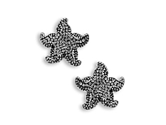 Aya Azrielant Starfish Earrings with Mist Swarovski Crystal in Sterling Silver