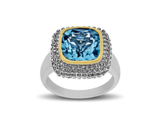 Aya Azrielant Swiss Blue Topaz Ring in Sterling Silver and 14K Gold