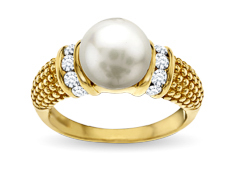 Aya Azrielant Pearl Ring with White Swarovski Crystal in 18K Gold over Sterling Silver