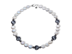 Aya Azrielant Coin Pearl Necklace with Swarovski Crystal in Sterling Silver