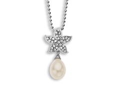 Aya Azrielant Starfish Pendant with Pearl and White Swarovski Crystal in Sterling Silver
