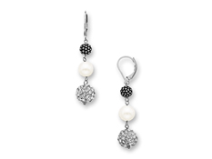 Aya Azrielant Pearl and White Swarovski Crystal Drop Earrings in Sterling Silver