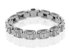 Black and Blue Men's Link Bracelet with Diamonds in Stainless Steel