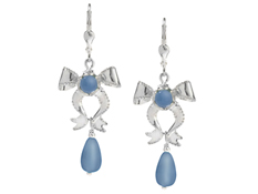 Carolyn Pollack Blue Chalcedony Bow Earrings in Sterling Silver