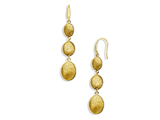 Three-Pebble Drop Earrings in 18K Gold over Sterling Silver