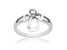 Jessica Simpson Diamond Cross Ring in Sterling Silver