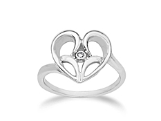 Jessica Simpson Diamond Heart Ring in Sterling Silver