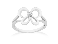 Jessica Simpson Diamond Butterfly Ring in Sterling Silver