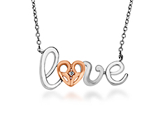 Jessica Simpson Diamond 'Love' Necklace in Sterling Silver