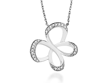 Jessica Simpson Diamond Pendant Necklacein White Gold from Jewelry.com