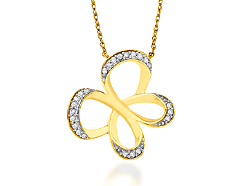 Jessica Simpson Diamond Butterfly Necklace in 10K Gold from Jewelry.com