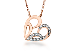 Jessica Simpson Heart Necklace in 10K Pink Gold with Diamonds