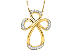 Jessica Simpson Diamond Cross in 10K Yellow Gold