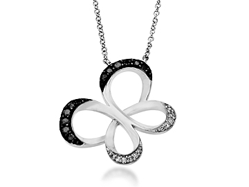 Jessica Simpson 1/4 ct Black & White Diamond Butterfly Necklace in 10K White Gold from Jewelry.com