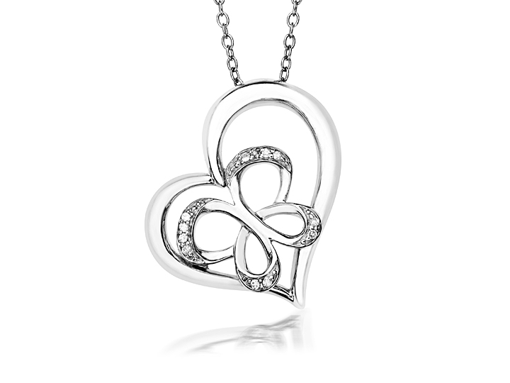 Jessica Simpson Diamond Heart and Butterfly Pendant Necklace in Sterling Silver from Jewelry.com