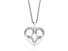 Jessica Simpson Diamond Heart Pendant in Sterling Silver