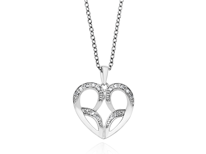 Jessica Simpson Diamond Heart Pendant Necklace in Sterling Silver from Jewelry.com