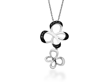 1/4 ct Black & White Diamond Jessica Simpson Butterfly Necklace in Sterling Silver from Jewelry.com