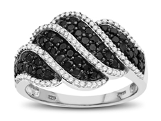 1 ct Black and White Diamond Ring in Sterling Silver
