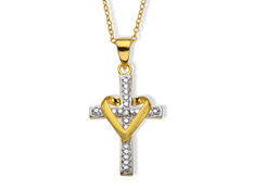 Heart Cross Pendant with Diamond in 18K Gold over Sterling Silver