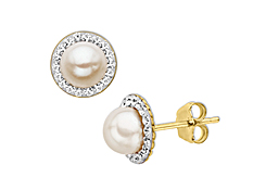 5.75 mm Pearl Stud Earrings with Swarovski Crystal in 14K Gold
