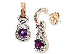3/4 ct Amethyst Drop Earrings with Diamonds in 18K Pink Gold Plate