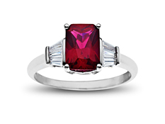 2 ct Ruby and White Sapphire Ring in 10K White Gold