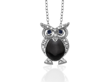 Owl Pendant Necklacewith Sapphire and Diamond in Sterling Silver over Bronze from Jewelry.com