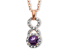 5/8 ct Amethyst Pendant with Diamond in 18K Pink Gold Plate