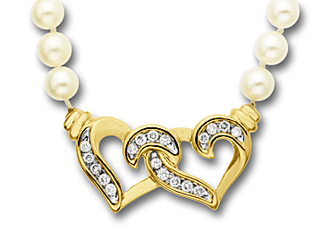 1/4 ct Diamond Heart and Pearl Necklace in 14K Gold from Jewelry.com