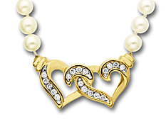 1/4 ct Diamond Heart and Pearl Necklace in 14K Gold