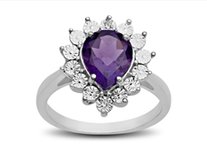 2 ct Amethyst Ring with Diamonds in Sterling Silver