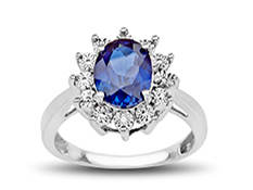 2 5/8 ct Sapphire Ring with Diamond in Sterling Silver