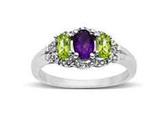 1 ct Amethyst and Peridot Ring with Diamonds in Sterling Silver