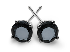 1 ct Black Diamond Stud Earrings in Sterling Silver