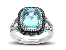 4 ct Swiss Blue Topaz Ring with Diamonds in Sterling Silver