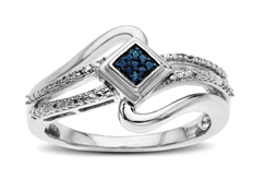Ring with Blue and White Diamonds in Sterling Silver