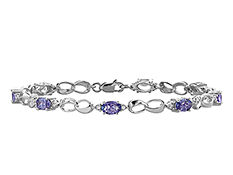 3 5/8 ct Tanzanite Link Bracelet with Diamonds in Sterling Silver