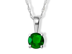 1/2 ct Emerald Pendant in 14K White Gold