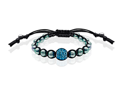 Shamballa Bracelet with Sky Swarovski Crystal and Grey Pearls