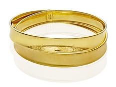 Crossover Bangle Bracelet in 18K Gold over Sterling Silver