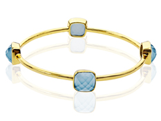 Medium Blue Chalcedony Bangle in 18K Gold over Brass