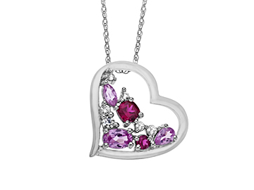 2 ct Pink and White Sapphire with Ruby Heart Pendant in Sterling Silver
