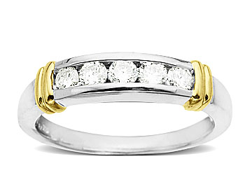 1/2 ct Diamond Anniversary Ring in Palladium and 18K Gold Accents from Jewelry.com