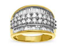 2 ct Round and Baguette-cut Diamond Anniversary Ring in 14K Gold