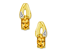 7/8 ct Citrine Earrings with Diamonds in 10K Gold