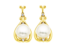 8 mm Pearl Earrings with Diamonds in 14K Gold