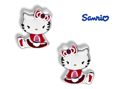 Hello Kitty Stud Earrings with Pink Swarovski Crystal in Sterling Silver
