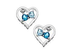 1 1/4 ct Blue and Sky Blue Topaz Heart Earrings with Diamonds in Sterling Silver