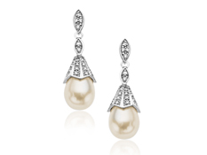 Pearl and 1/5 ct Diamond Drop Earrings in Sterling Silver